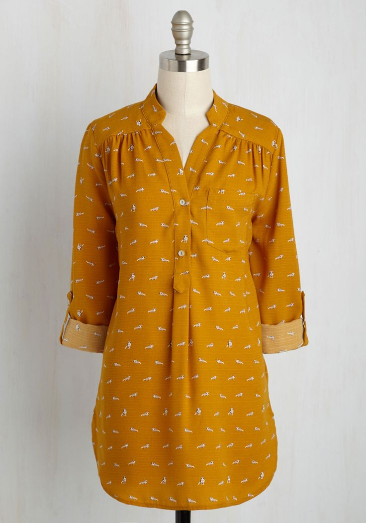 A Critter Wonder Top in Raccoons. Its no surprise that this marigold top has become your favorite seperate. #yellow #modcloth