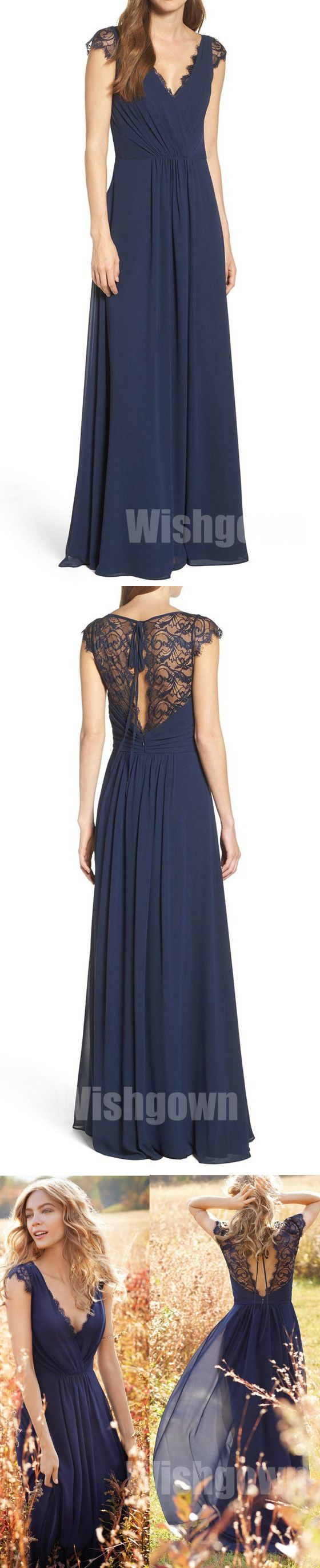 Cap Sleeves Lace Chiffon Navy Blue Elegant Long Bridesmaid Dresses, WG460 #bridesmaids #weddingpartydress
