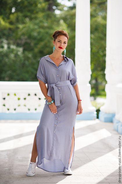Платья ручной работы. Ярмарка Мастеров - ручная работа. Купить Платье рубашка в пол. Handmade. Разноцветный, платье на каждый день