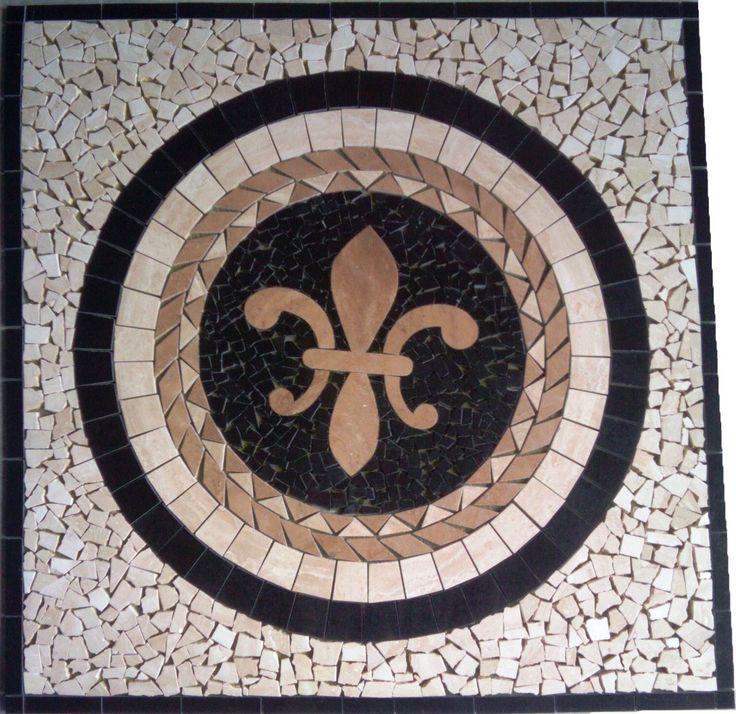 Floor Marble Medallion Fleur De Lis Travertine Tile Mosaic 24 Us