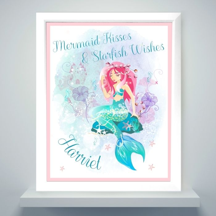 What better way to decorate a room than with a touch of mythical magic?  This Mermaid Poster Frame can be personalised with a message over 2 lines of text up to 20 characters per line and a name up to 12 characters in length.   All text is case senstive and will appear as entered, however, due to the font used please avoid entering all your text in block capitals as this may result in the personalisation being difficult to read.  To finish this stylish piece of art, each piece is mounted and…