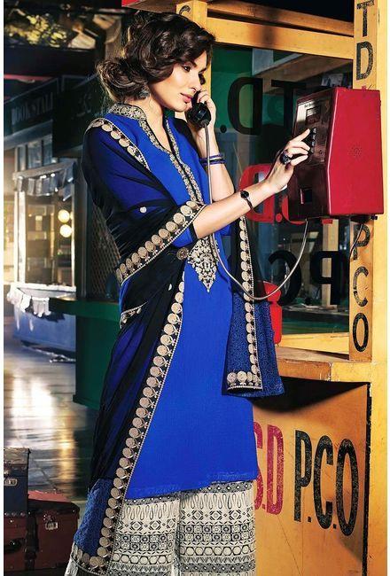 Blue Chiffon Salwar Kameez-GIMME-B-610