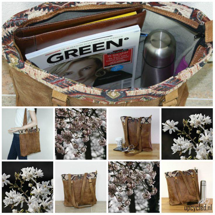 Handgemaakte tas van hergebruikt leer. Van het leer van een oud bankstel is een nieuwe tas gemaakt. Upcycled leather bag.