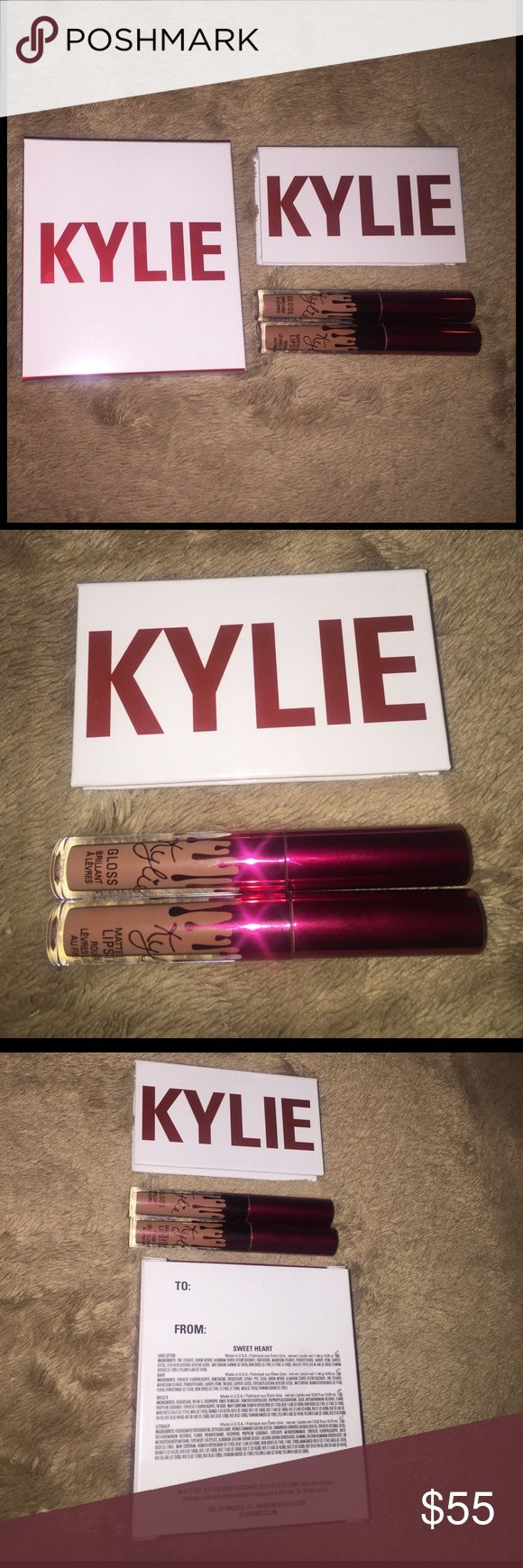 Kylie Sweet Heart Mini Kit ❤️👄💄 Authentic Brand New Valentine's Day Edition Sweet Heart Kit with Two Eyeshadow and Two Lip Mini's From Kylie Cosmetics.  Lip Shades are ;  -Literally Gloss Mini  -Dolce K Matte Mini   Eyeshadow Shades are ;  -Love Letter (Shimmery Silver Color) -Baby (Can be used as blush too!)  100% Authentic (fakes/dupes aren't even out yet)   and NEVER EVER coming back on the Kylie website because they were LIMITED EDITION !  Price is slightly negotiable!   COMES WITH…