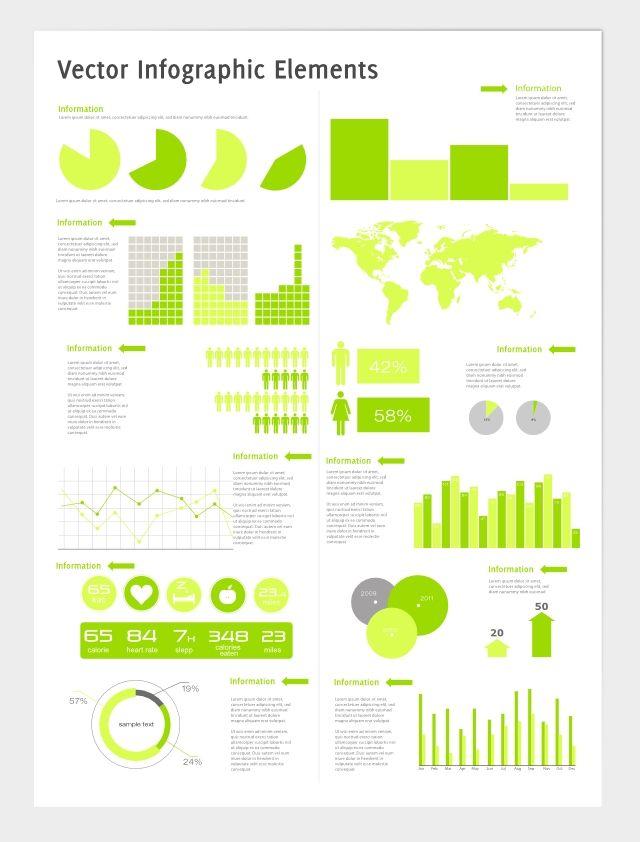 Per coloro che desiderano creare una infografica, ecco a voi un set completo che vi aiuterà a muovere i primi passi!