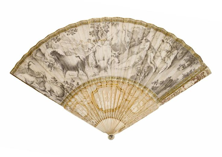 Folding fan with pierced, carved and gilt ivory sticks and guards, and double leaf of chicken skin with a pen and ink drawing on obverse of a man and woman driving cattle, with goats resting to left and a man and woman with baby and dog to right, part of the Richmond Inglis Cochrane Collection: c. 1770 - 1780