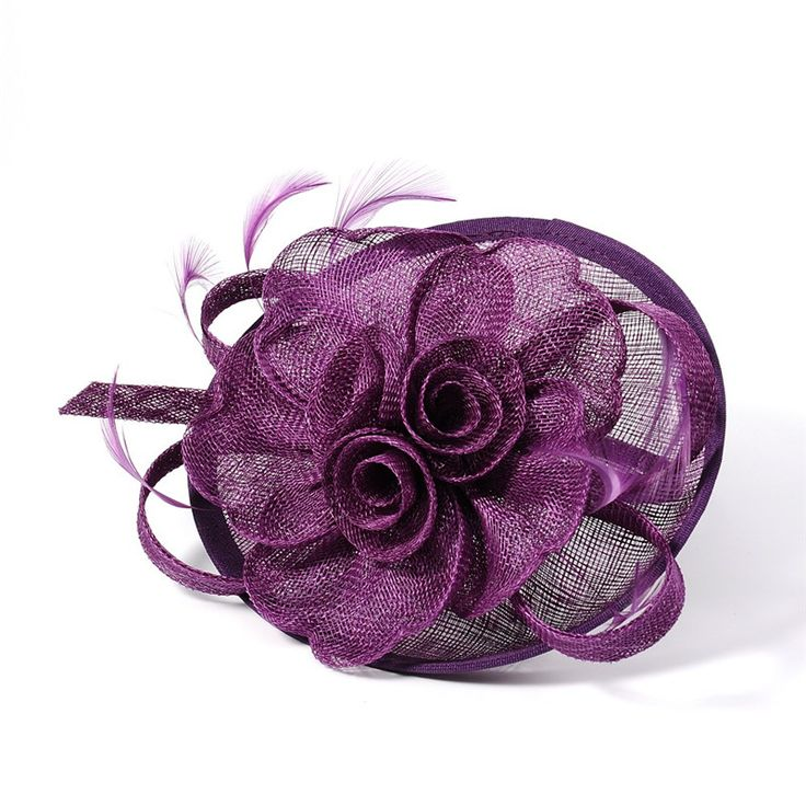 Cheap flowers asia, Buy Quality flowers long directly from China flower Suppliers:         Stlye 1      Elegant Darkviolet Fascinators UK for Weddings, Flower Organza with Feather      Size: about 120mm