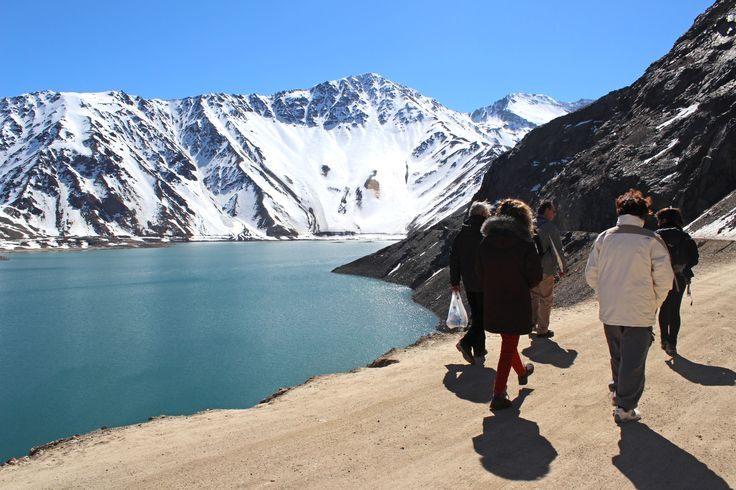 an incredible day near santiago, chile, we did a short trekking by a reservoir, lake on a perfect spring day