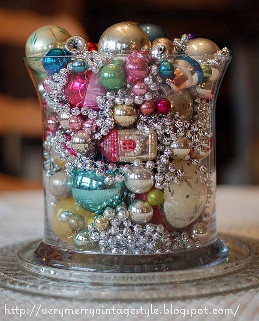 Festive centerpiece using vintage ornaments.