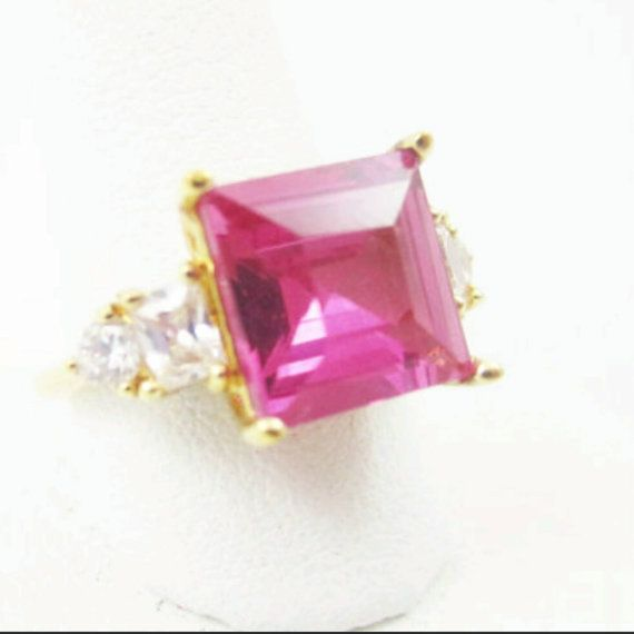 Lab Created Ruby CZ Engagement Ring Hot Pink 925 Sterling Gold