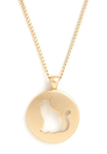 Feline Finery Necklace. You love your furry feline friends - so much so that you often sport this cute cat necklace!  #modcloth