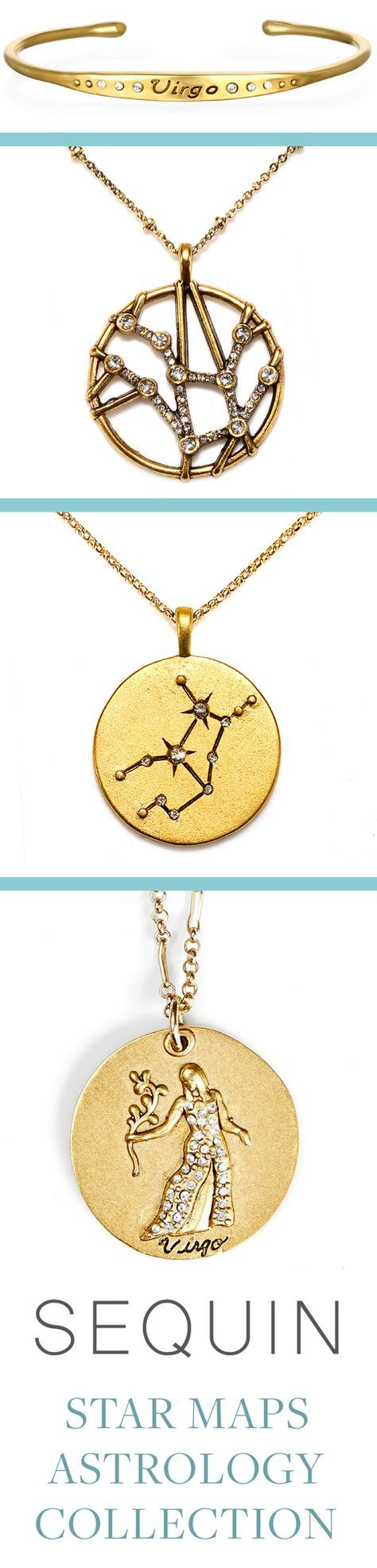 Astrology Jewelry! Sequin's Star Maps Collection illustrates the twelve astrological signs with beautifully detailed interpretations of constellations and zodiac symbols. Each is 22K antique gold- rose-gold or silver-dipped and cast from an original Sequin illustration. Designed & handcrafted in the USA with components from around the world.