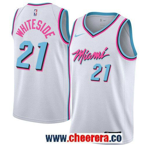 new product 623b1 23739 Men's Nike Miami Heat #21 Hassan Whiteside White NBA ...