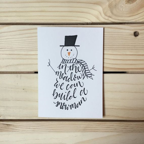 Snowman Greeting Card, Hand Drawn Christmas Card, Hand Lettered Holiday Note Card, Winter Wonderland Card