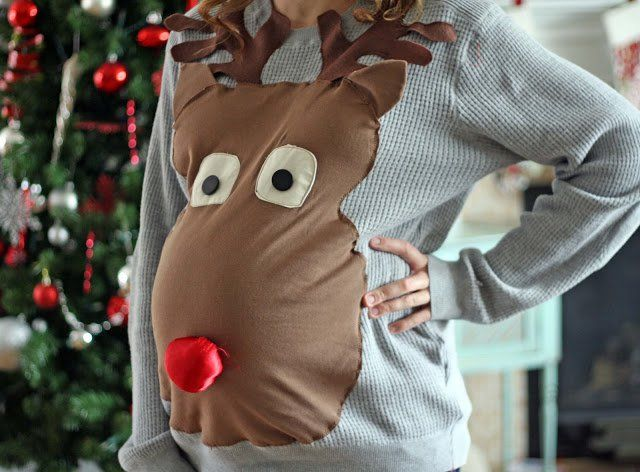 Maternity Ugly Christmas Sweater - 13 DIY Ugly Christmas Sweaters | Perfect Ugly & Funny Handmade Costumes by Pioneer Settler at http://pioneersettler.com/diy-ugly-christmas-sweaters/