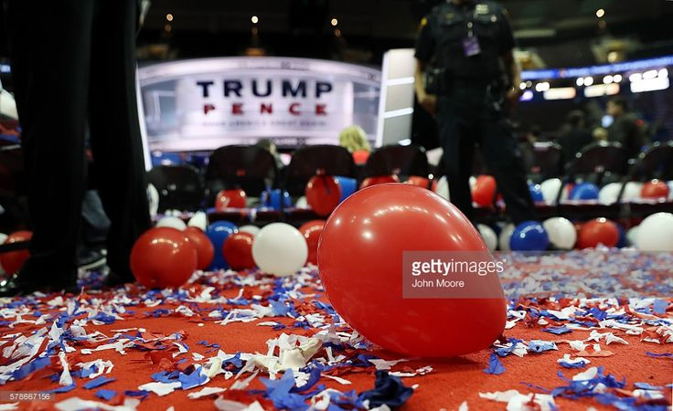 Balloons and confetti are seen at the end of the fourth day of the Republican National Convention on July 21, 2016 at the Quicken Loans Arena in Cleveland, Ohio. Republican presidential candidate Donald Trump received the number of votes needed to secure the party's nomination. An estimated 50,000 people are expected in Cleveland, including hundreds of protesters and members of the media. The four-day Republican National Convention kicked off on July 18.