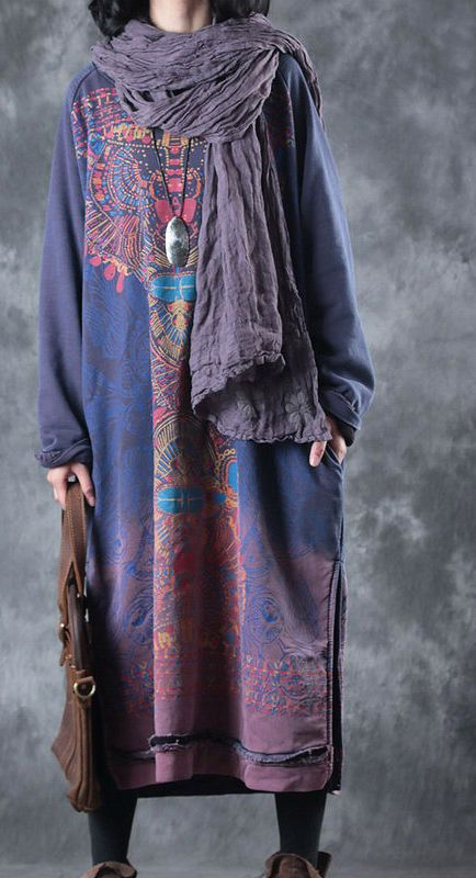 a6f6ae832353 blue purple prints pure cotton dress oversized traveling dress Elegant o  neck side open cotton clothing