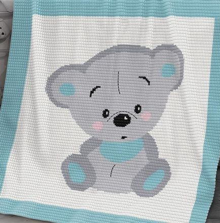 Crochet Pattern   Baby Blanket / Afghan - Cuddles Bear