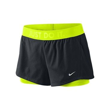 Circuit 2 in 1 Woven Løpeshorts Dame Sort/neon