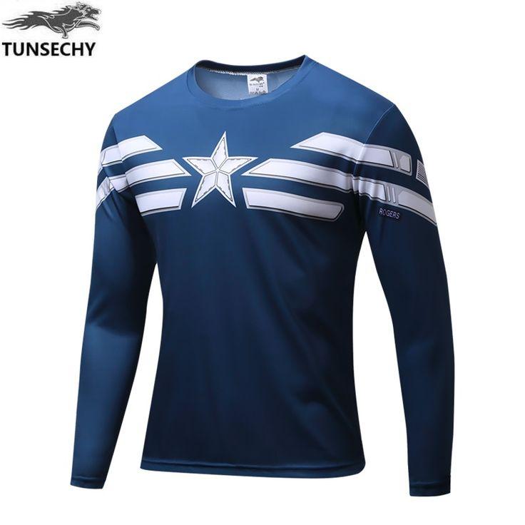 2016 Marvel Avengers Captain America 2 winter soldier Superhéroe deadpool Traje 3d T camisa de Los Hombres de manga Larga camiseta homme en Camisetas de Ropa y Accesorios en AliExpress.com | Alibaba Group