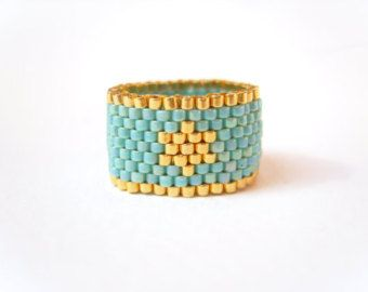 Turquoise and Gold Star Ring, Seed Bead Ring, Beaded Ring, Fashion Jewelry, Uk seller