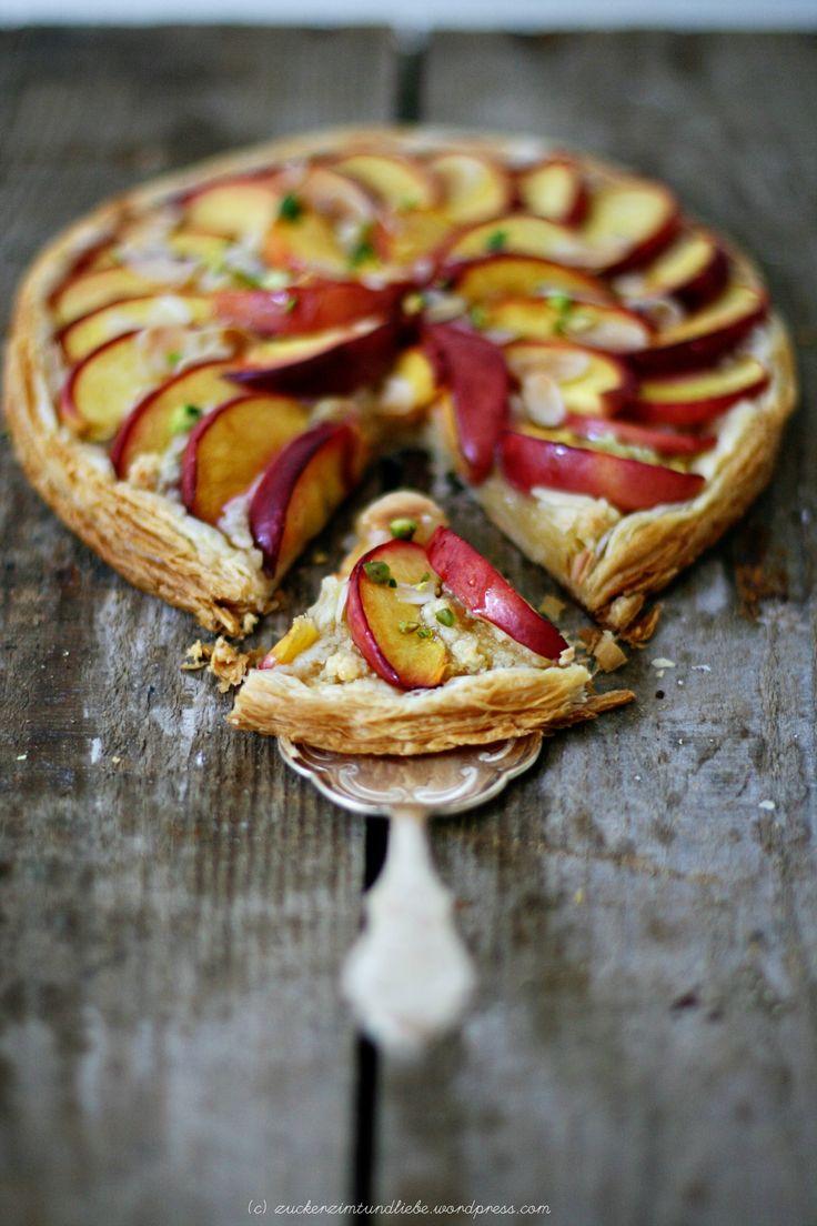 nectarine & pistachio tart