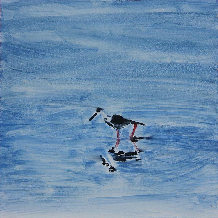 "CHRISTMAS GIFT, Watercolor Painting, Original 3.54"" x 3.54"", ""Waterbirds"", Watercolor on wood panel"