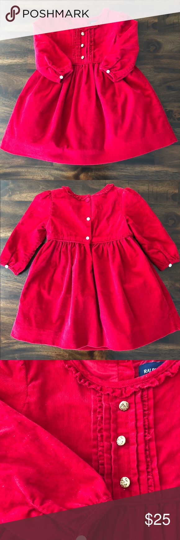 Ralph Lauren Red Dress Super Cute Ralph Lauren Red Corduroy Dress with gold button details. Size: 12M Brand New WOT Ralph Lauren Dresses