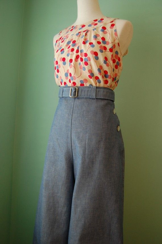 1930's 1940's vintage style light denim pants with belt CUSTOM MADE your size
