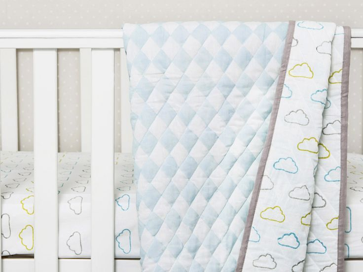 'Happy Cloud' Organic Cotton Baby Blankets, Baby Blankets, Organic Baby Blankets, Swaddle Baby Blankets, Baby Shower Gift, Baby Gifts, Baby Boy Gift
