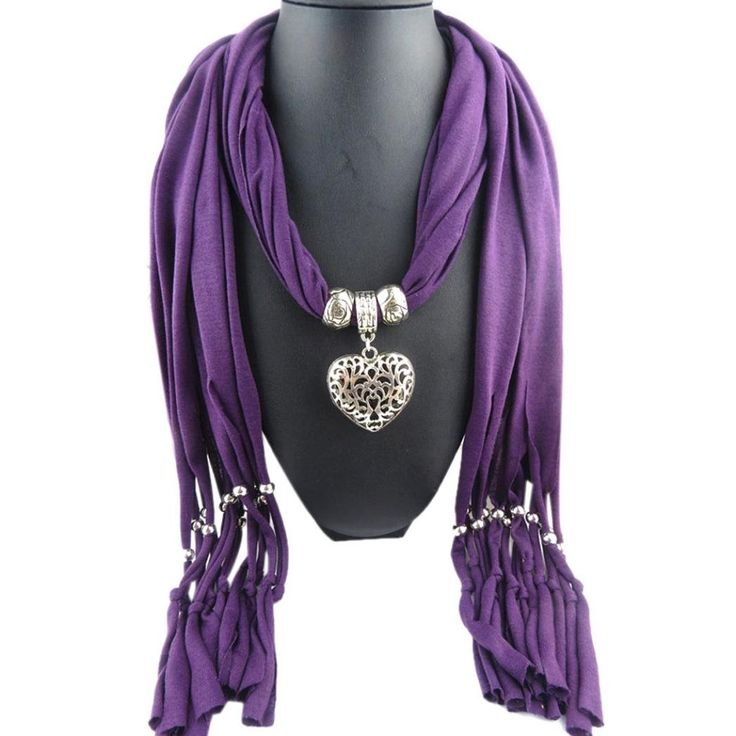 Leewa Hot Sale ! Women Winter Heart Gemstone Necklace Scarf Lady Tassel Warm Scarves - 18040CM (Purple). Size:180*40CM. Material:Polyester,Cotton. It makes a great gift for you or your friends. It is very easy to work with and can wear with lots of different ways. It can wear with everything like t-shirt or evening dress.