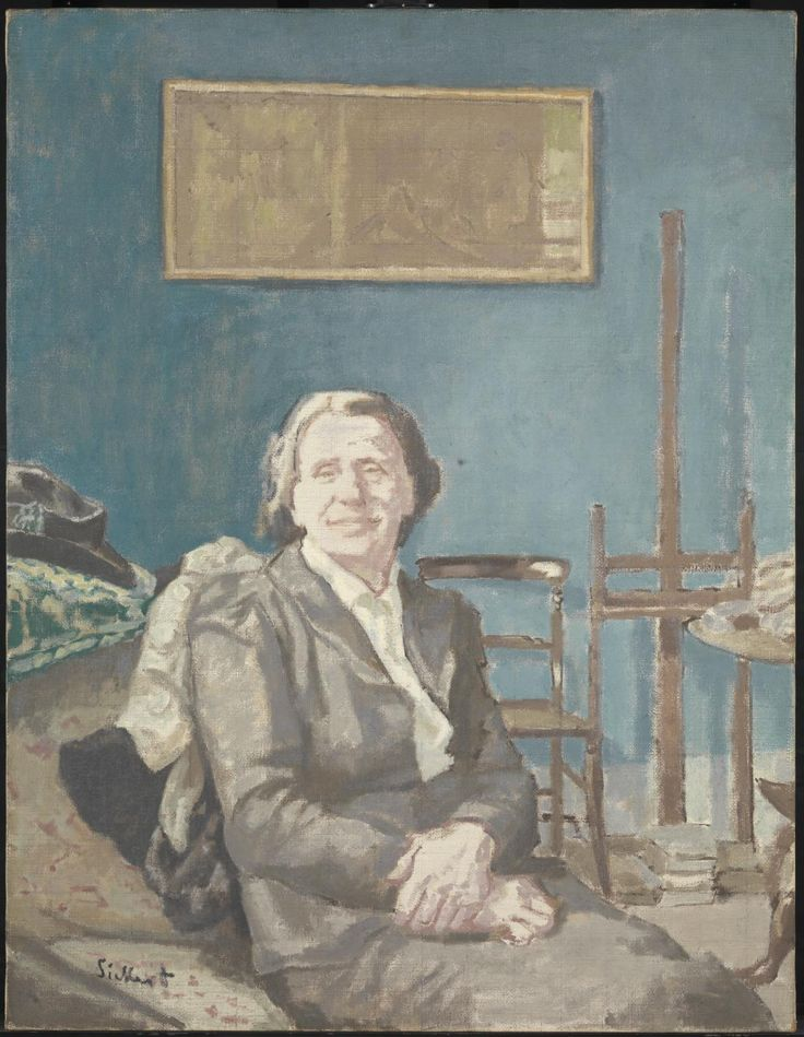 Lady Martin (1935) by Walter Richard Sickert. Painted in the same room as the portrait of her husband, Sir Alec Martin. Martin remembered Sickert's wife taking a photograph of her one day as she entered the room. Sickert used photographs to define the tonal passages of a composition. The shadows and tones of face and hands have been simplified and a camaieu technique of two colours applied over a dry underlayer that is similar in tone. The effect is of a slightly over-exposed photograph.