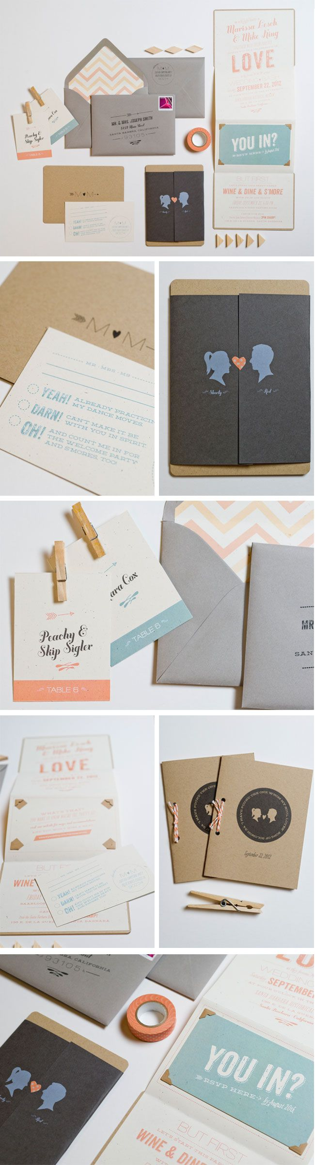 Whimsical silhouette folding #invitations. We love these retro fonts and the sweet color pallet.