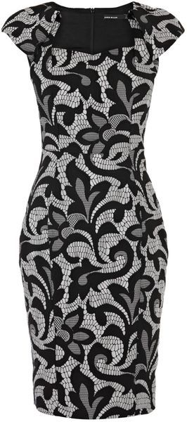 Karen Millen Jacquard Lace Effect Pencil Dress - Lyst                                                                                                                                                                                 More
