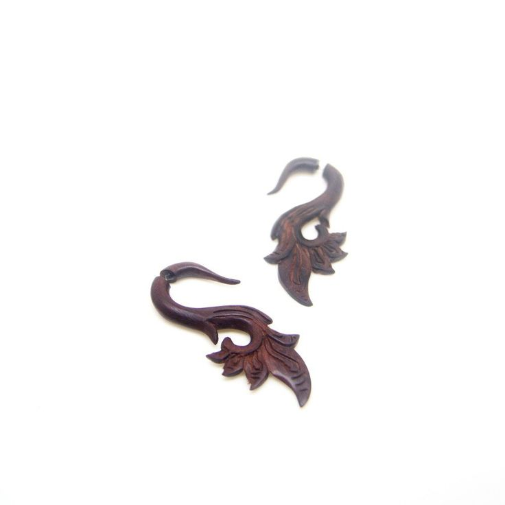 Tribal Style Fake Gauge Wood Earrings AA010