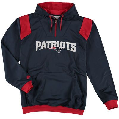 New England Patriots Majestic Navy Big & Tall 1/4-Zip Pullover Hoodie