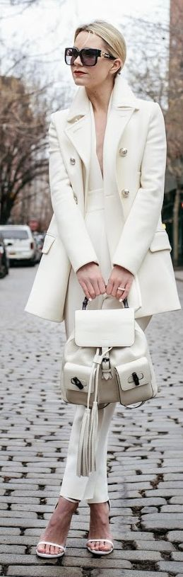 White Military Chic Coat w/ Gucci bamboo handle backpack purse by Atlantic - Pacific 052215