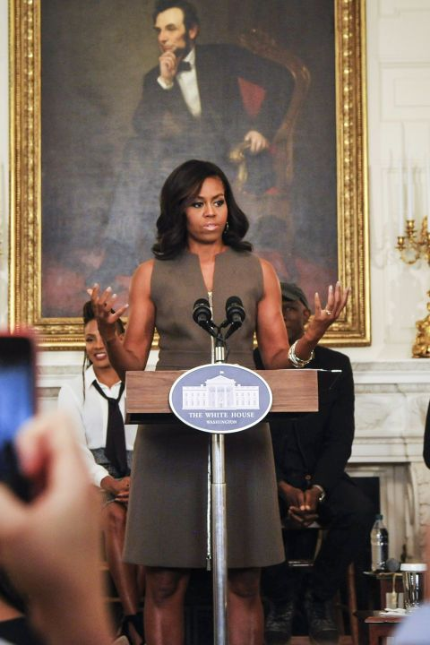 """In a neutral zip-up dress during the """"A Celebration Of Song: In Performance At The White House Student Workshop."""""""
