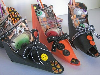 paper witches shoes filled with candy. Great classroom treats!