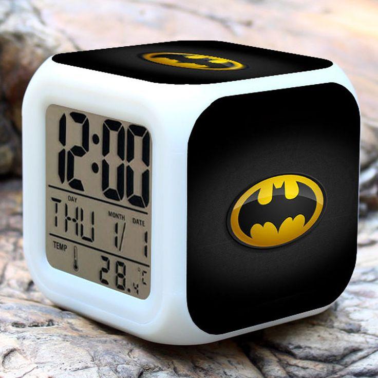 Superhero Batman Cartoon Alarm Clocks Kids Toy Alarm Clocks 7 Colours Glowing LED Color Change Digital Alarm Clock Batman