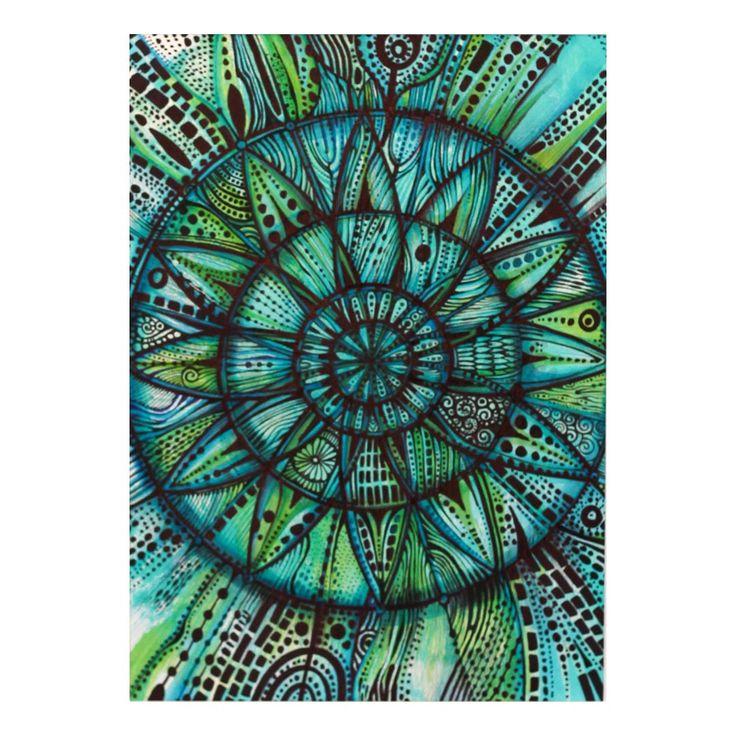 Zielona mandala | Rysunek | 29,7 x 21 cm