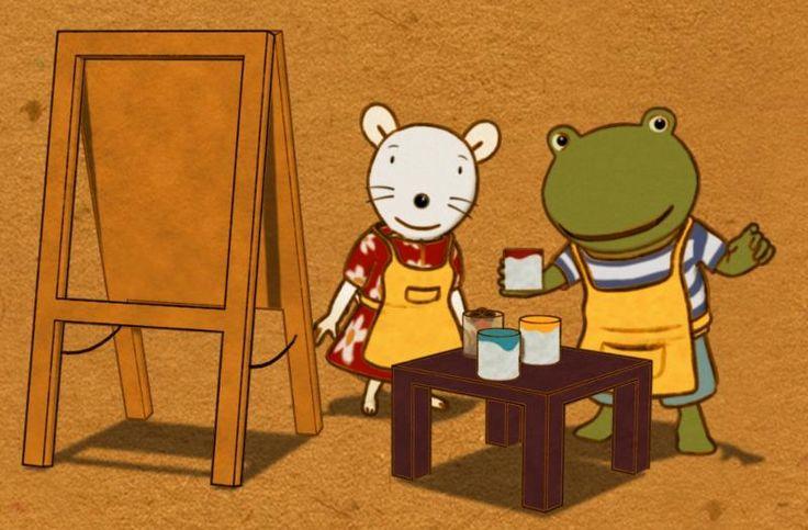 Nellie en Cezar schilderen