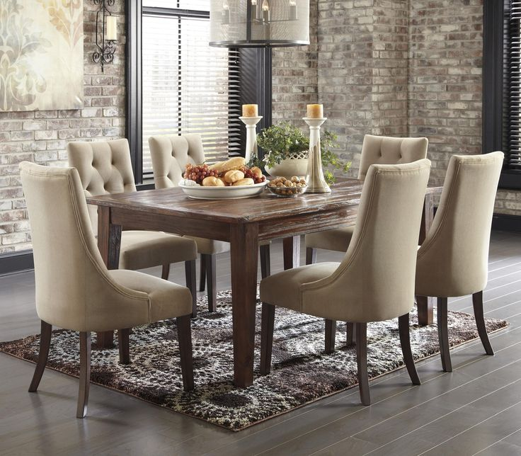 Mestler 7 Piece Dining Set With Upholstered Chairs By Signature Design Ashley