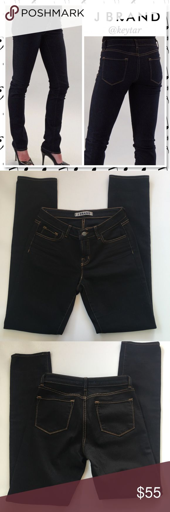 """J Brand Scarlett Cigarette Straight Leg Jeans The Scarlett is an ink black wash cigarette style jean by J Brand. 5 pocket straight leg jeans, contrasting gold stitching with zip fly and button closure. EUC. Only signs of wear are on the inside tags and pocket fabric which have turned grayish from the first wash and color bleed. Easy to dress up with heels or booties or down with sneakers or sandals.  ⚡Waist 15"""" inseam 33"""" rise 8"""" ❌ trades ❌ lowballs 👍offer button  🌟Bundle 2 or more items…"""