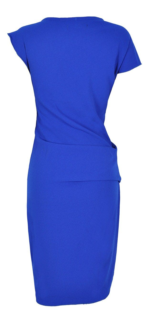 'Leah' Cobalt Blue Stretch Crepe Asymmetric Pencil Dress