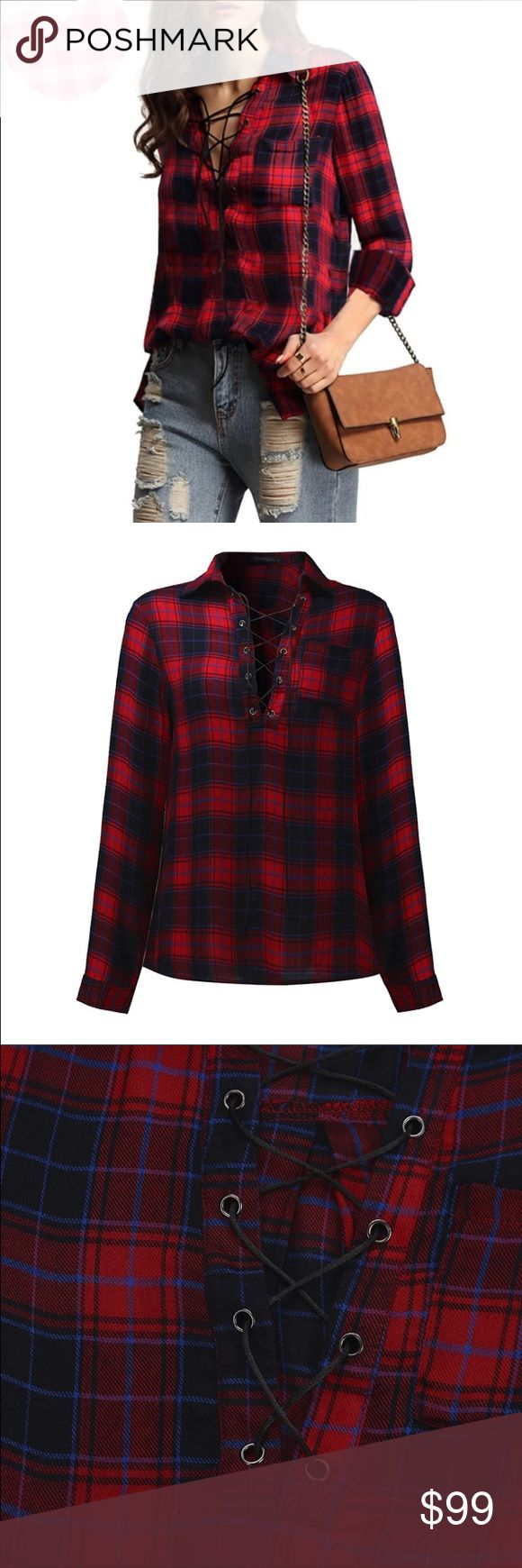 Coming soon plaid lace up shirt Coming soon, price will change when item becomes available for purchase. boutique Tops