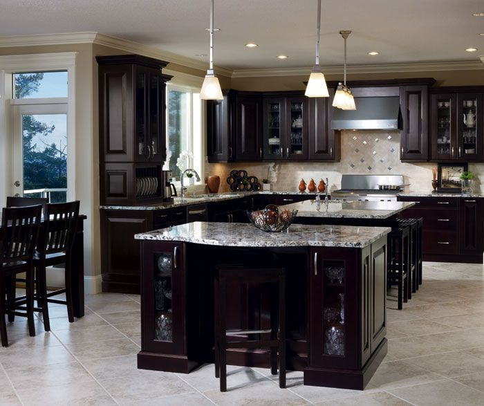 Dark Kitchen Cabinets Light Floors: Model Home Expresso Kitchen - Google Search