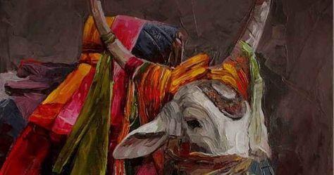 Индийская деревня основная тема реалистичных картин индийского художника Ируван Карунакарана