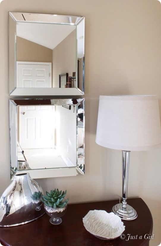 Beveled Edge Mirror Makeover {a Pottery Barn knock off} one long mirror