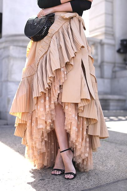 £995 J.CREW Ruffled Pleated Cotton-Blend Poplin And Polka-Dot Tulle Midi Skirt Teamed With $280 Cult Gaia Ark mini acrylic clutch Tumblr
